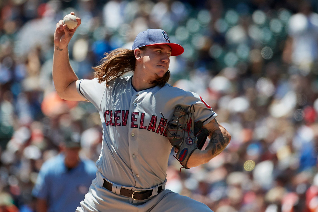 . Cleveland Indians starting pitcher Mike Clevinger (52) pitches in the first inning of a baseball game against the Detroit Tigers in Detroit, Sunday, July 2, 2017. (AP Photo/Rick Osentoski)