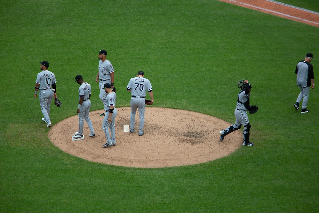 . The Chicago White Sox gather at the mound during a regular season game at Progressive Field on June 20, 2018. The Indians defeated the Sox 12-0. (The Morning Journal/Michael Johnson)