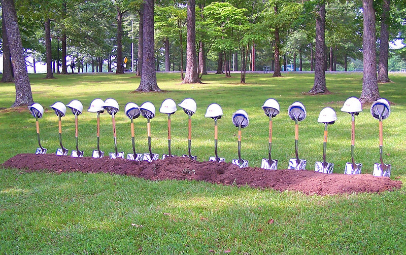 library groundbreaking 2006 line of shovels.jpg