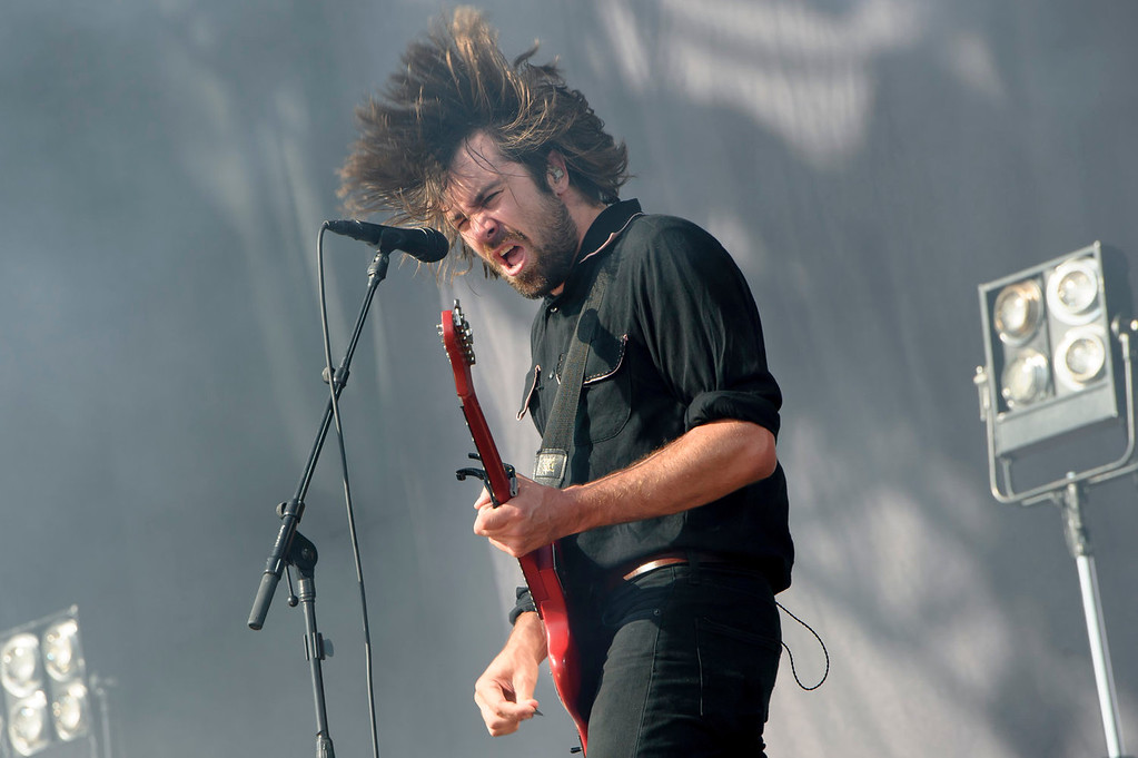. Justin Young from British band The Vaccines performs at the V Festival in Chelmsford, England, Sunday, Aug. 18, 2013. (Photo by Jonathan Short/Invision/AP)