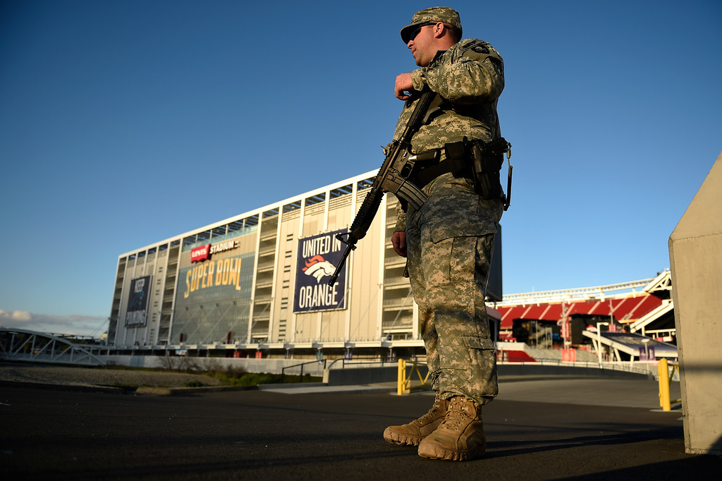 . SANTA CLARA, CA - FEBRUARY 02: California National Guard specialist Trae Carpenter guarding Levi\'s Stadium in Santa Clara, CA. February 02, 2016 (Photo by Joe Amon/The Denver Post)