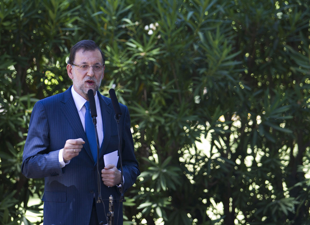 """. Spanish Prime Minister Mariano Rajoy speaks during a press conference after meeting with Spain\'s King Juan Carlos at the Marivent Palace in Palma de Mallorca on August 9, 2013. Spain will take \""""all necessary measures\"""" to defend its interests in Gibraltar, Mariano Rajoy said today amid a row with London over the British outpost on Spain\'s southern tip.   JAIME REINA/AFP/Getty Images"""