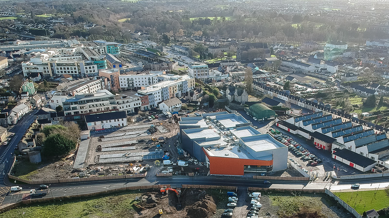 Drone images of new cinema & mart site