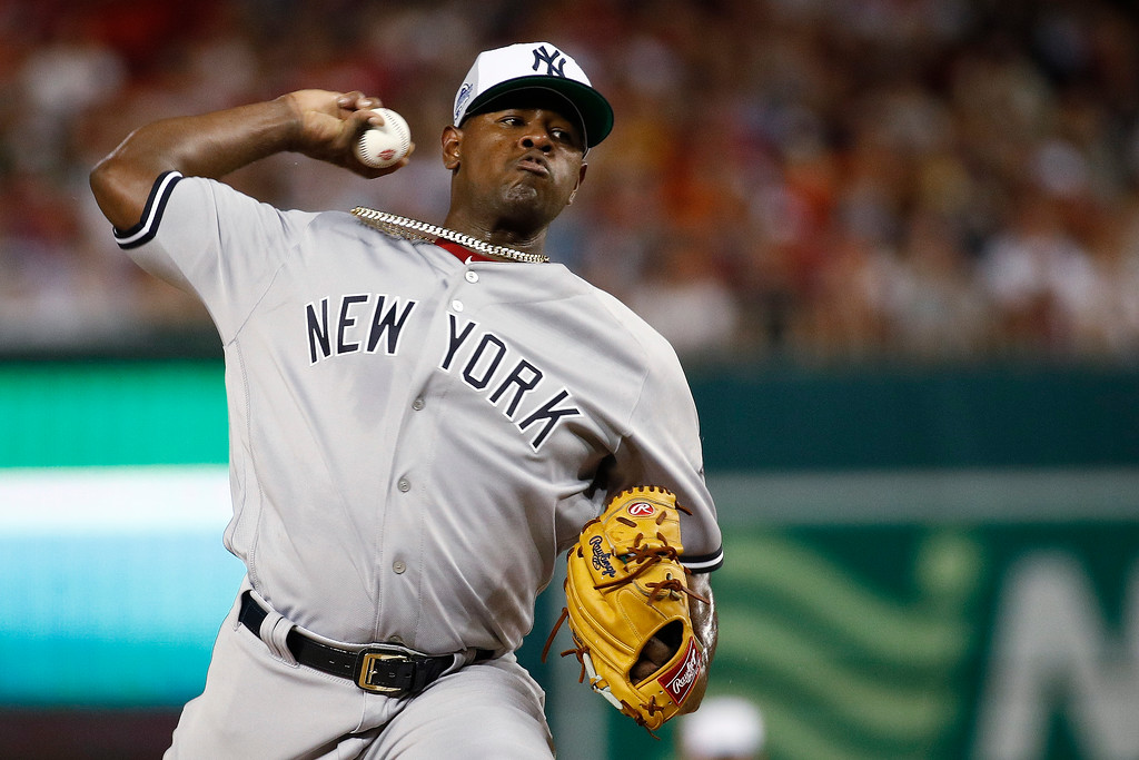 . Luis Severino of Yankees pitches during the second inning of the Major League Baseball All-star Game, Tuesday, July 17, 2018 in Washington. (AP Photo/Patrick Semansky)