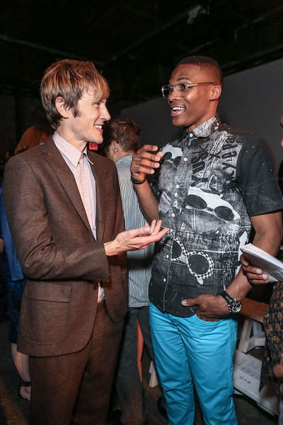 NEW YORK, NY - SEPTEMBER 07:  Actor Gabriel Mann (L) and NBA athlete Russell Westbrook attend Billy Reid's spring 2013 fashion show during Mercedes-Benz Fashion Week at Eyebeam on September 7, 2012 in New York City.  (Photo by Chelsea Lauren/Getty Images)