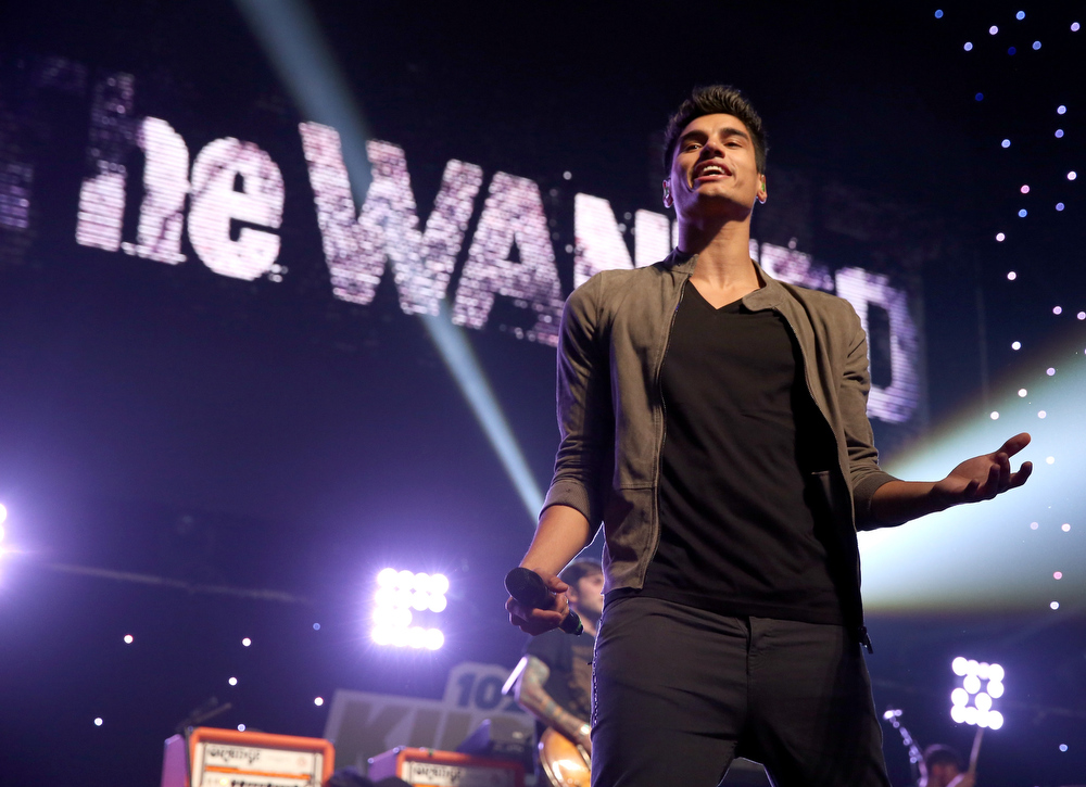 Description of . Singer Siva Kaneswaran of The Wanted performs onstage during KIIS FM's 2012 Jingle Ball at Nokia Theatre L.A. Live on December 3, 2012 in Los Angeles, California.  (Photo by Christopher Polk/Getty Images for Clear Channel)