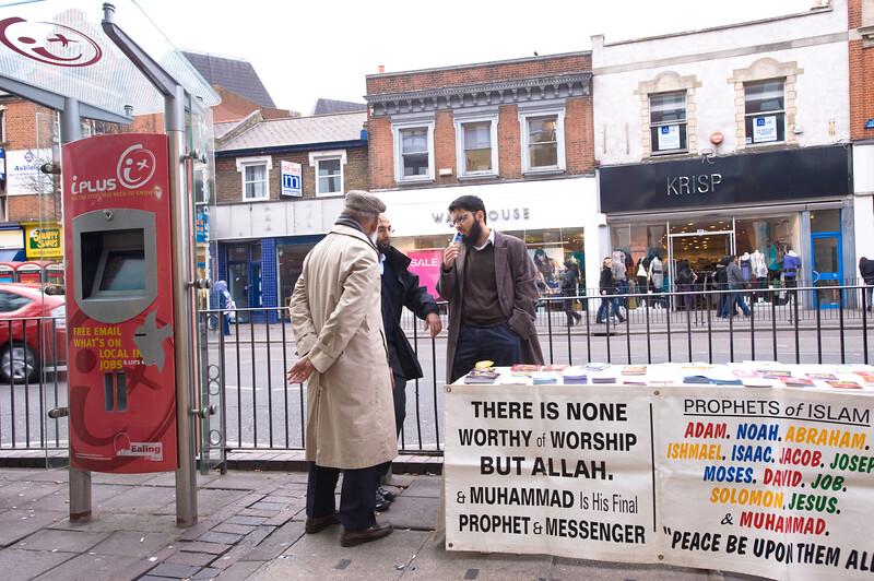 Muslim preachers on the sidewalk in Ealing, W5, London, United Kingdom
