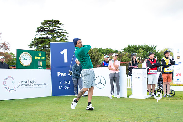Kristopher Williamson from Cook Islands  hitting off the 1st tee on Day 1 of competition in the Asia-Pacific Amateur Championship tournament 2017 held at Royal Wellington Golf Club, in Heretaunga, Upper Hutt, New Zealand from 26 - 29 October 2017. Copyright John Mathews 2017.   www.megasportmedia.co.nz