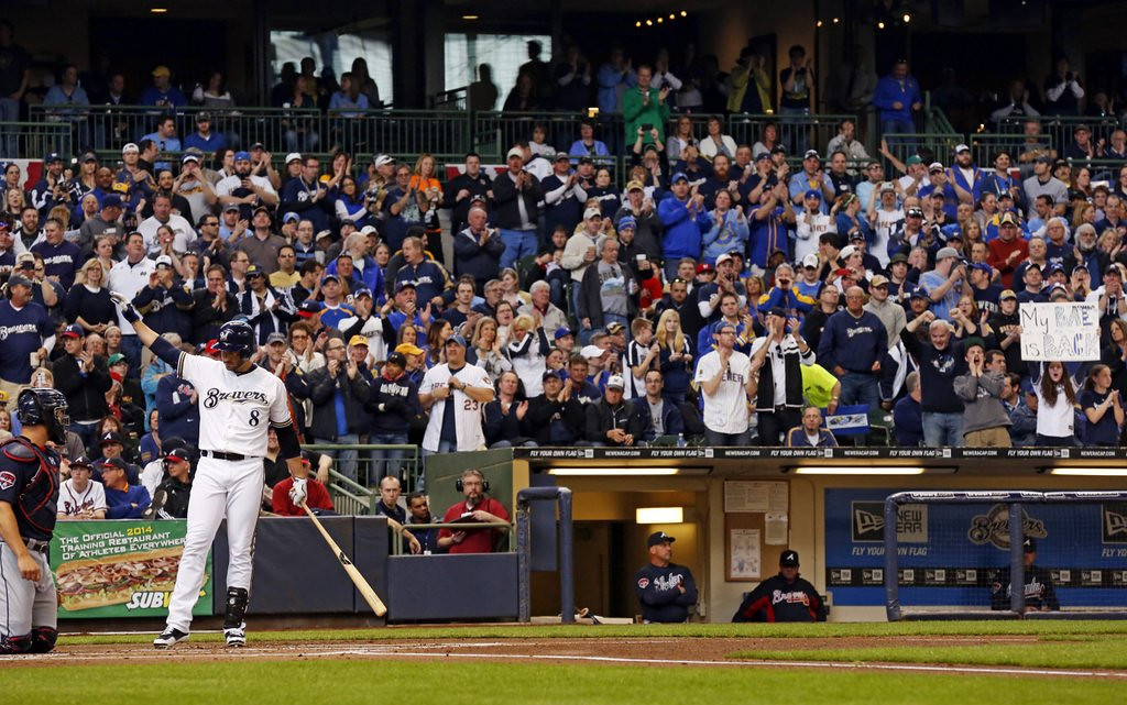 """. <p><b> Milwaukee fans gave a standing ovation to Brewers star Ryan Braun during Monday�s opener because � </b> <p> A. He has apologized for lying about his use of performance enhancing drugs <p> B. He has vowed to never cheat again <p> C. They enjoyed plenty of breakfast beer <p><b><a href=\'http://www.usatoday.com/story/sports/mlb/2014/03/31/ryan-braun-standing-ovation-miller-park-opening-day-biogenesis-suspension/7121503/\' target=\""""_blank\"""">HUH?</a></b> <p>    (AP Photo/Jeffrey Phelps)"""