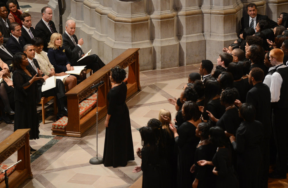 . US President Barack Obama, First Lady Michelle Obama, Vice President Biden and his wife Dr. Jill Biden attend a prayer service at Washington National Cathedral on January 22, 2013 in Washington, DC.  SAUL LOEB/AFP/Getty Images