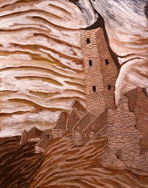 Tower House acrylic painting, Mesa Verde National Park, Colorado