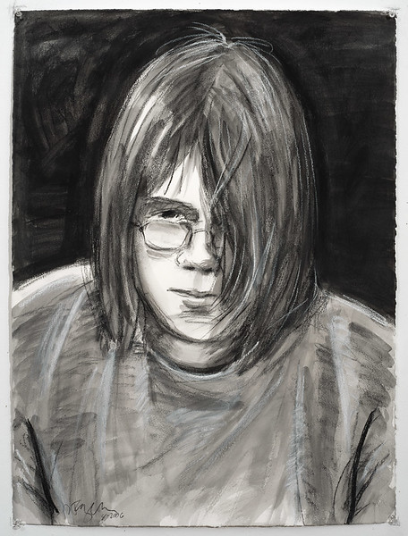 Portrait study - Edward (at 15); charcoal, 22 x 30 in, 1995