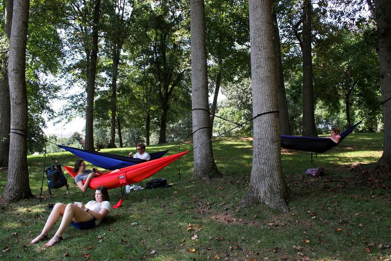 Gardner-Webb University students relax on a beautiful fall day at Gardner-Webb University.
