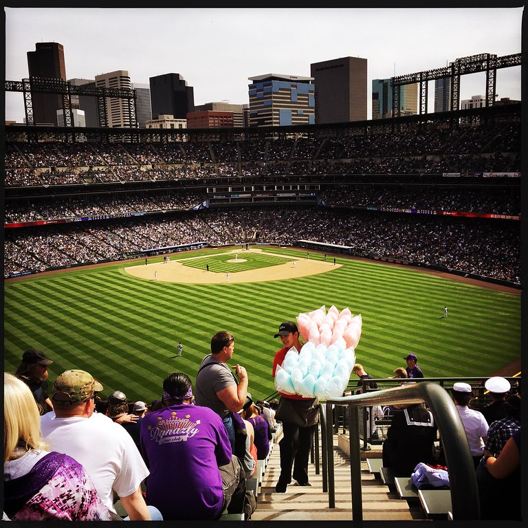 . Cotton Candy in the Rock Pile. #openingday #rockies � @shootsethshoot  Denver post photographer Seth McConnell covered the Colorado Rockies opening day, on April 8, 2016, using the photo app Hipstamatic and publishing on Instagram.