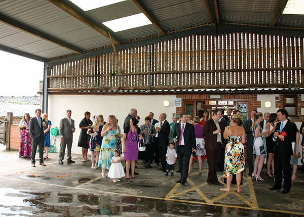 A wedding reception on a wet summers day at Dairy Barns