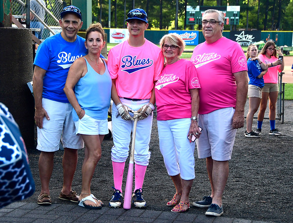 8/2/2018 Mike Orazzi | Staff Bristol Blues' Alex Loparco at Muzzy Field during Pink Night Thursday evening.