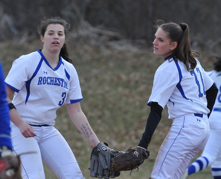 Rochester and Troy Athens split an OAA Crossover doubleheader with Athens taking the first game 11-0 in 5 innings, and Rochester winning the nightcap 8-1.  The games were played on Tuesday April 10, 2018 at Rochester High School.  (Oakland Press photo by  Ken Swart)