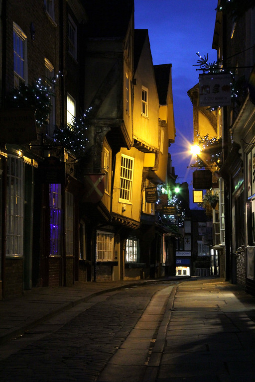. The Shambles with its 14th century timber-framed buildings gets its name from the butcher stalls that once lined this old street (Photograph by Dennis Lennox)