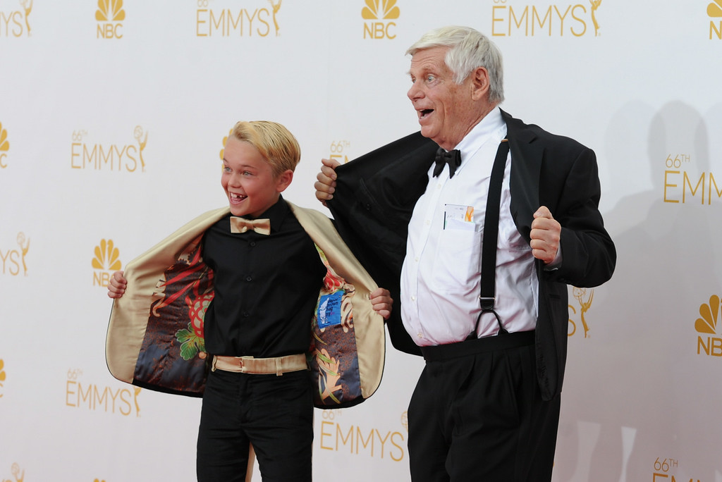 . Mason Vale Cotton and Robert Morse on the red carpet at the 66th Primetime Emmy Awards show at the Nokia Theatre in Los Angeles, California on Monday August 25, 2014. (Photo by John McCoy / Los Angeles Daily News)