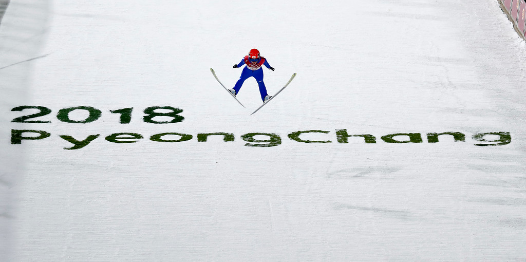 . Yuki Ito, of Japan, soars through the air during the women\'s normal hill individual ski jumping competition at the 2018 Winter Olympics in Pyeongchang, South Korea, Monday, Feb. 12, 2018. (AP Photo/Matthias Schrader)