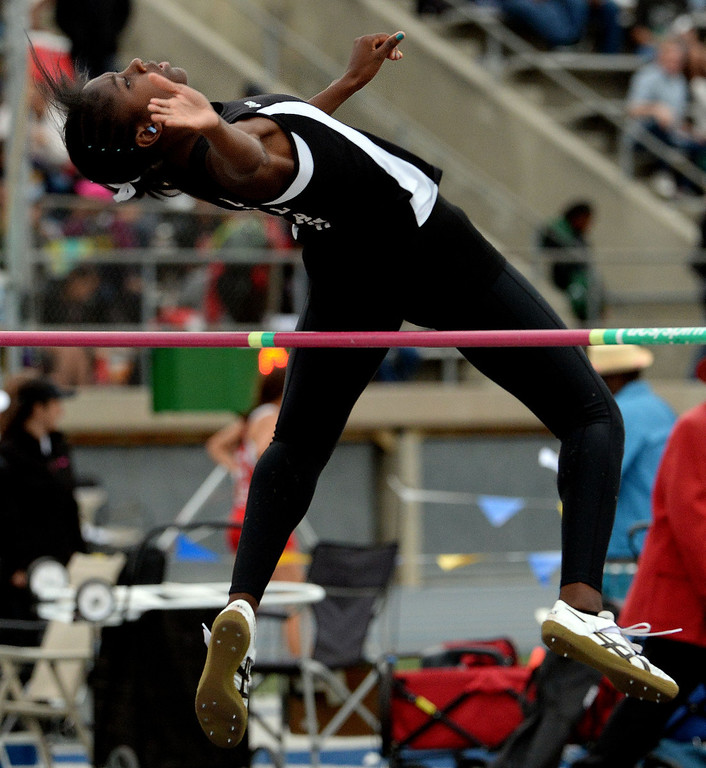 . Upland\'s Skylar Daniel in the division 1 high jump during the CIF Southern Section track and final Championships at Cerritos College in Norwalk, Calif., Saturday, May 24, 2014.   (Keith Birmingham/Pasadena Star-News)
