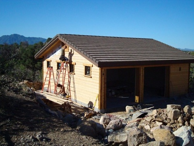 garage with Granite mountain in background
