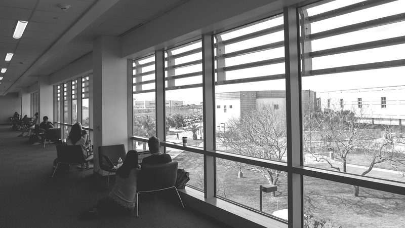 Students utilize the study stations on the second floor of the O'Connor building.
