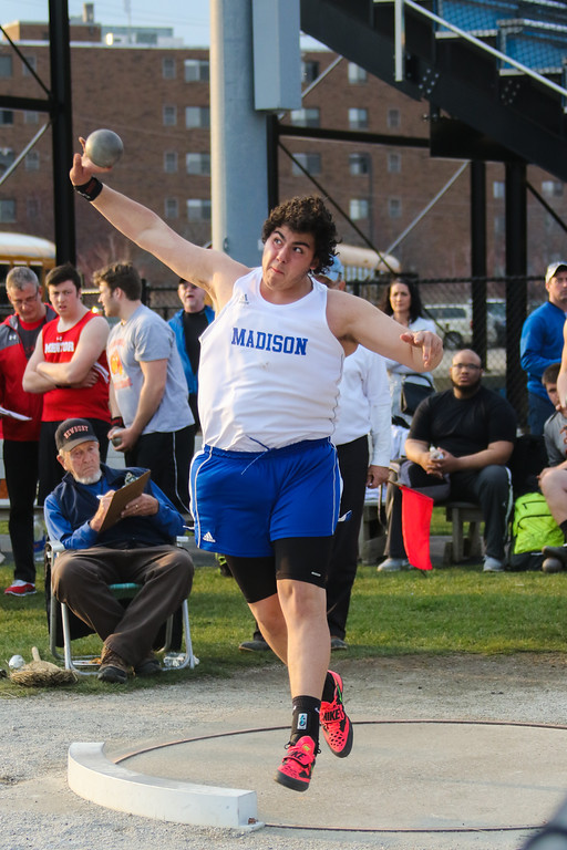 ". 2018 - Track and Field - Willoughby South Invitational.  Shot Put.  Nolan Landis won from Madison with a throw of 58\'-7""."