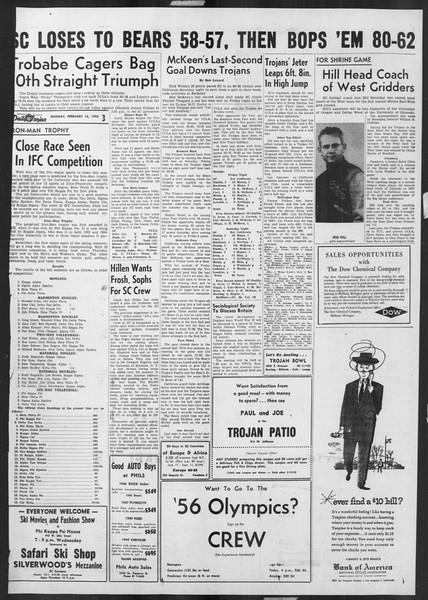 Daily Trojan, Vol. 46, No. 76, February 14, 1955