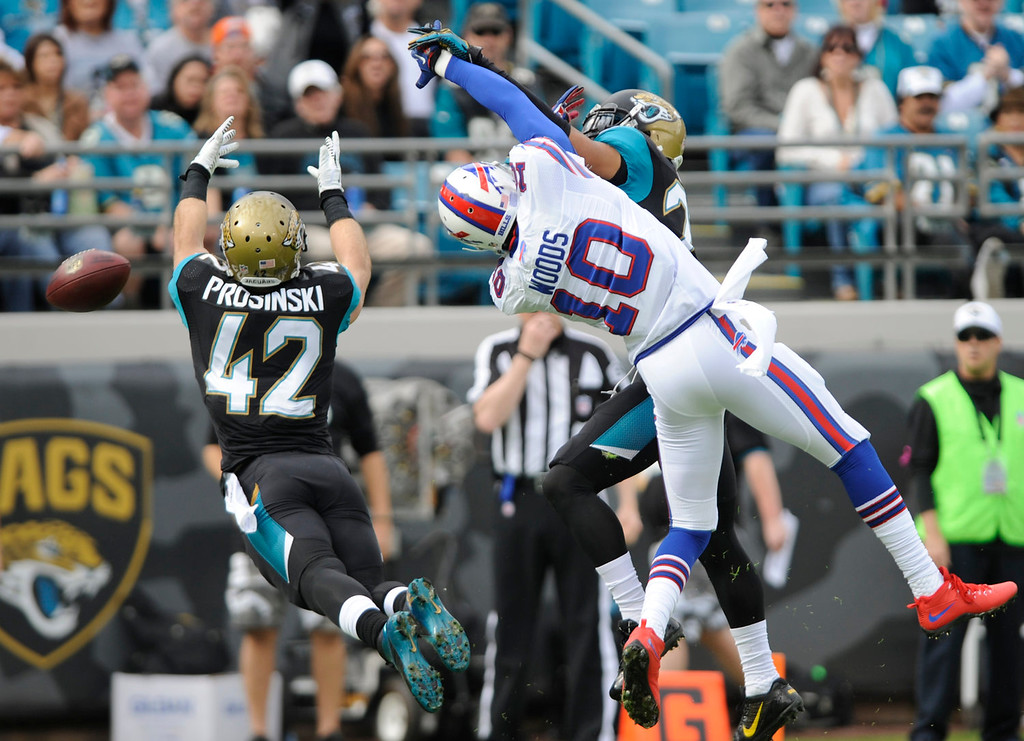. Jacksonville Jaguars free safety Chris Prosinski (42) goes for the ball after a pass intended for Buffalo Bills wide receiver Robert Woods (10) was broken up by Jacksonville Jaguars cornerback Dwayne Gratz, during the first half of an NFL football game in Jacksonville, Fla., Sunday, Dec. 15, 2013. (AP Photo/Stephen Morton)