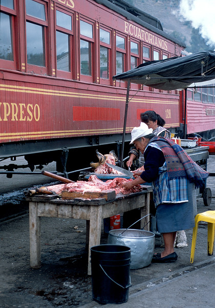 July 2003.  Butcher at the Guamote market.