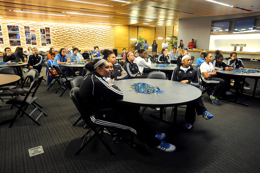 . Members of the UCLA Women\'s basketball team watch the NCAA Women\'s Basketball Selection Show Monday March 18, 2013 in Westwood, CA.(Andy Holzman/Los Angeles Daily News)