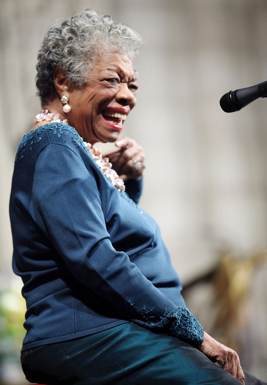. Writer Maya Angelou attends the memorial celebration for Odetta at Riverside Church on February 24, 2009 in New York City.  (Photo by Astrid Stawiarz/Getty Images)