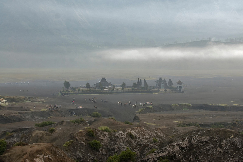Shot of the temple at Mount Bromo from afar