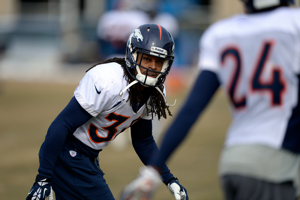 . Denver Broncos cornerback Marquice Cole (34) runs through drills during practice January 15, 2014 at Dove Valley. The Broncos are preparing for their game against the New England Patriots in the AFC championship game. (Photo by John Leyba/The Denver Post)