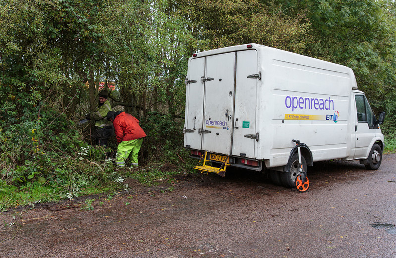 The BT Openreach engineers clear the area to give them access to the chambers (8 November 2013). For more information, visit http://www.increasebroadbandspeed.co.uk/cambridgeshire