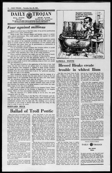 Daily Trojan, Vol. 61, No. 48, November 20, 1969