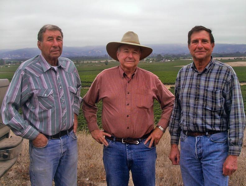 Buck, Angelo, and Bob in El Novillero (EN#9) Vineyard in 2005.