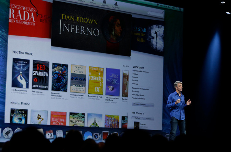 . Craig Federighi, senior vice president of software engineering at Apple, introduces the new iBooks during the keynote address of the Apple Worldwide Developers Conference, Monday, June 10, 2013, in San Francisco. (AP Photo/Eric Risberg)
