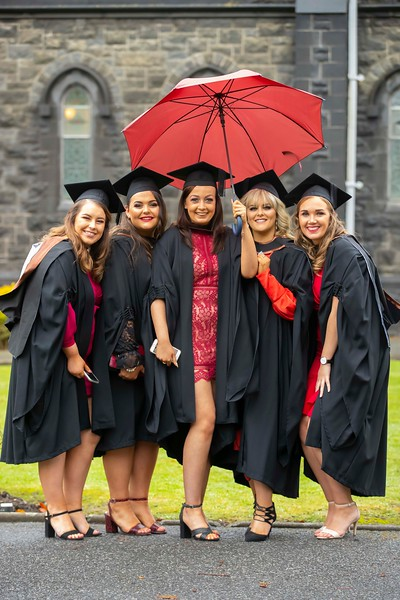 31/10/2019. Waterford Institute of Technology (WIT) Conferring Ceremonies. Pictured are Ciara Coady, Carrick on suir, Co. Tipperary, Emma O'Grady Fethard on Sea, Co Wexford, Niamh Bradshaw Knoktopher, Co. Kilkenny, Niamh Ayres Kilkenny City, Katie Berkeley Cork who graduated BA Hons in Early Childhood Studies. Picture: Patrick Browne