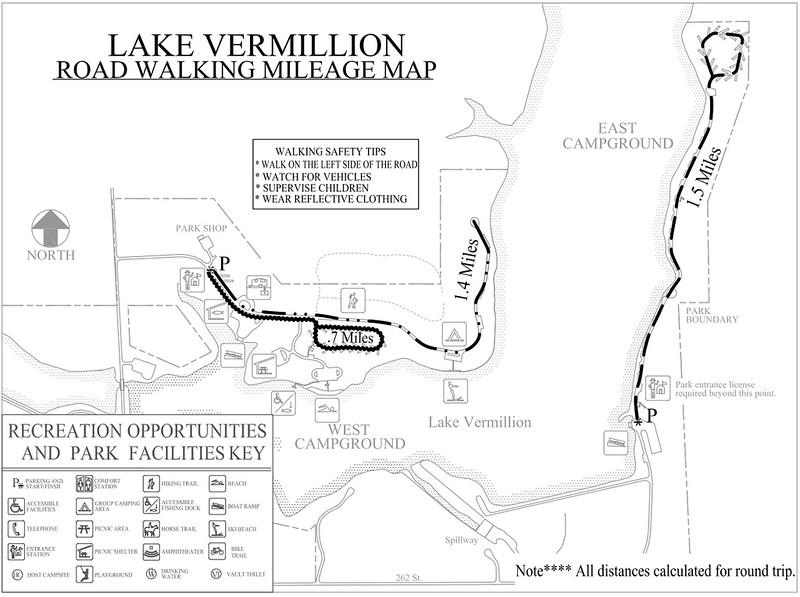 Lake Vermillion Recreation Area (Road Walking Map)