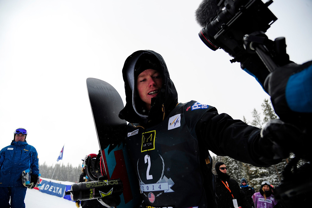 . Second place finisher Torstein Horgmo walks to the podium following the slopestyle finals of the Copper Mountain Grand Prix.  (Photo by AAron Ontiveroz/The Denver Post)