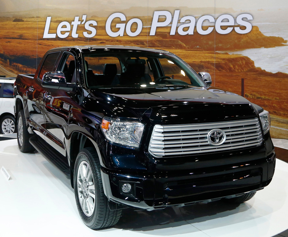 . The redesigned 2014 Toyota Tundra is unveiled at the Chicago Auto Show Thursday, Feb. 7, 2013, in Chicago. (AP Photo/Charles Rex Arbogast)