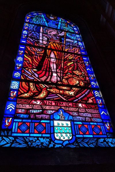 377th unit stained glass window