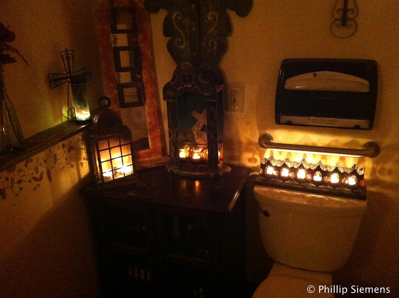 Candlelit restroom at Sofrita, a very nice little Spanish restaurant with tastes of Puerto Rico