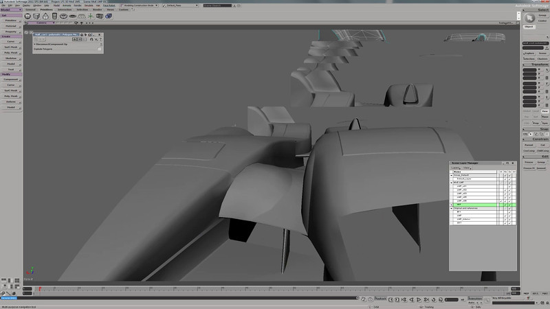 LMP, Making Of - Splitting Parts  Splitting up the car for easier texture work using planar mapping (no UV's for this baby). Some minor cleanup, labeling the meshes and keeping the project nicely organized... as you should always do.  57 mins. spent in total.
