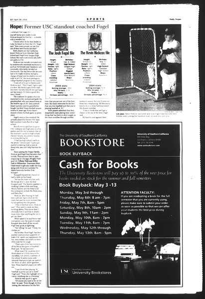 Daily Trojan, Vol. 151, No. 66, April 28, 2004