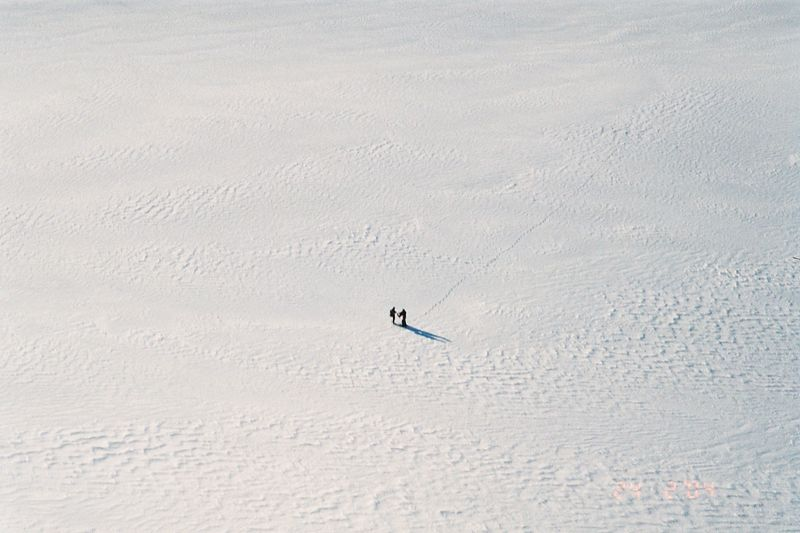 The Upper Tasman Glacier. How small we are. Phil and Duncan. Feb 04
