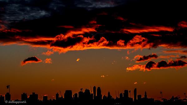 Dawn, Manhattan skyline