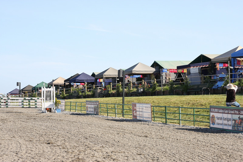 Dog agility shows have a variety of randomly placed canopies of different sizes and shapes. Horse show canopies are fancier, carefully placed, and more consistent in shape.